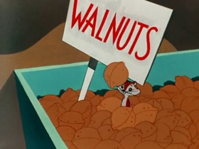 Screenshots from the 1953 Warner Brothers cartoon Much Ado About Nutting