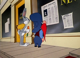 Screenshots from the 1953 Warner Brothers cartoon Hare Trimmed