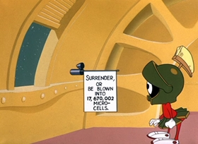 Screenshots from the 1953 Warner Bros. cartoon Duck Dodgers in the 24 1/2th Century