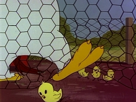 Screenshots from the 1953 Warner Brothers cartoon Plop Goes the Weasel