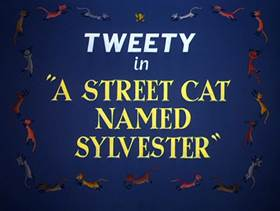Screenshots from the 1953 Warner Brothers cartoon A Street Cat Named Sylvester