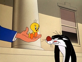 Screenshots from the 1953 Warner Brothers cartoon Catty Cornered