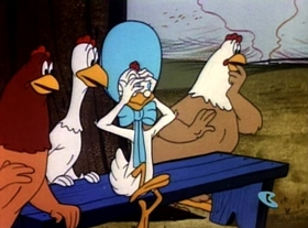 Screenshots from the 1953 Warner Brothers cartoon Of Rice and Hen