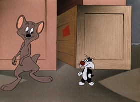 Screenshots from the 1953 Warner Brothers cartoon Cats A-weigh!
