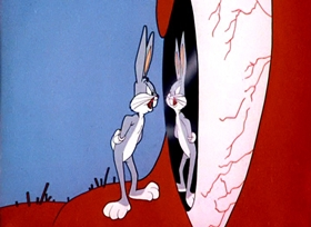 Screenshots from the 1953 Warner Brothers cartoon Lumber Jack-Rabbit