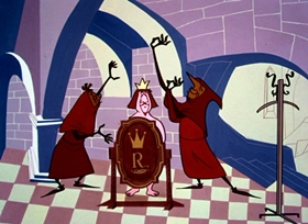 Screenshots from the 1953 UPA cartoon The Emperor