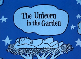 Screenshots from the 1953 UPA cartoon The Unicorn in the Garden