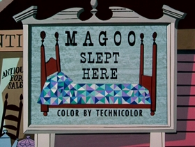 Screenshots from the 1953 UPA cartoon Magoo Slept Here