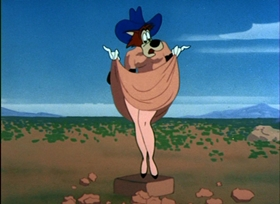 Screenshots from the 1954 MGM cartoon Drag-Along Droopy