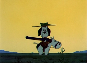 Screenshots from the 1954 MGM cartoon Homesteader Droopy