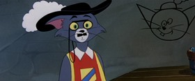 Screenshots from the 1954 MGM cartoon Touche Pussy Cat
