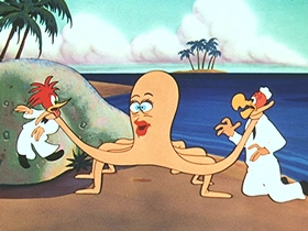 Screenshots from the 1954 Walter Lantz cartoon Alley to Bali
