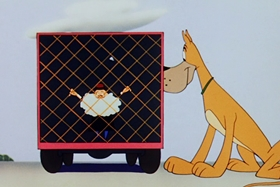 Screenshots from the 1954 Walter Lantz cartoon Dig That Dog