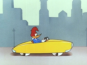 Screenshots from the 1954 Walter Lantz cartoon Hot Rod Huckster