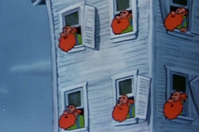 Screenshots from the 1954 Walter Lantz cartoon Pig in a Pickle