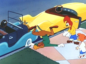 Screenshots from the 1954 Walter Lantz cartoon Real Gone Woody