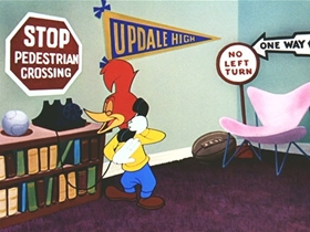 Screenshots from the 1954 Walter Lantz cartoon Real Gone Woody