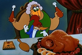 Screenshots from the 1954 Walter Lantz cartoon Fine Feathered Frenzy