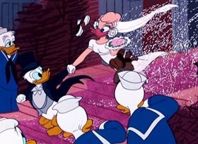 Screenshots from the 1954 Disney cartoon Donald
