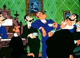 Screenshots from the 1954 Disney cartoon Casey Bats Again