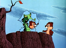 Screenshots from the 1954 Disney cartoon Dragon Around