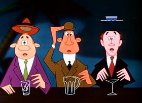 Screenshots from the 1954 Disney cartoon Social Lion
