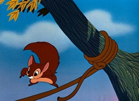 Screenshots from the 1954 Disney cartoon The Flying Squirrel