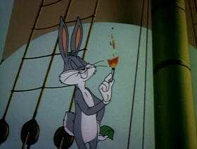 Screenshots from the 1954 Warner Brothers cartoon Captain Hareblower