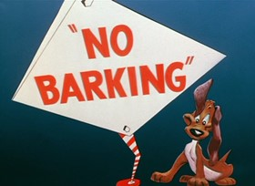 Screenshots from the 1954 Warner Brothers cartoon No Barking