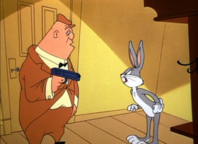 Screenshots from the 1954 Warner Brothers cartoon Bugs and Thugs