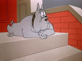 Screenshots from the 1954 Warner Brothers cartoon Muzzle Tough