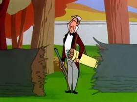 Screenshots from the 1954 Warner Brothers cartoon The Oily American
