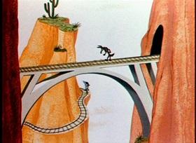 Screenshots from the 1954 Warner Brothers cartoon Stop, Look and Hasten