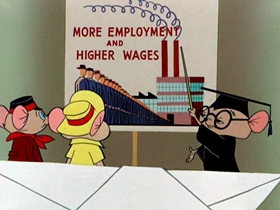 Screenshots from the 1954 Warner Brothers cartoon By Word of Mouse