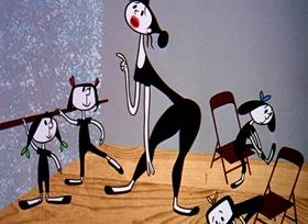 Screenshots from the 1954 UPA cartoon Ballet-Oop
