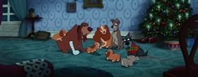 Screenshots from the 1955 Disney cartoon Lady and the Tramp