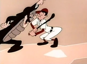 Screenshots from the 1955 Terrytoons cartoon Phoney News Flashes