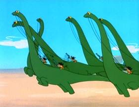 Screenshots from the 1955 MGM cartoon The First Bad Man