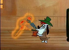Screenshots from the 1955 MGM cartoon Deputy Droopy