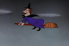 Screenshots from the 1955 Walter Lantz cartoon Witch Crafty