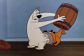 Screenshots from the 1955 Walter Lantz cartoon The Legend of Rockabye Point
