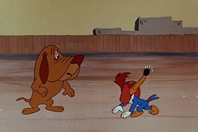 Screenshots from the 1955 Walter Lantz cartoon Private Eye Pooch