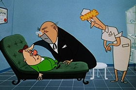 Screenshots from the 1955 Walter Lantz cartoon Sh-h-h-h