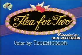 Screenshots from the 1955 Walter Lantz cartoon Flea for Two