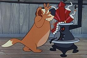 Screenshots from the 1955 Walter Lantz cartoon Hot and Cold Penguin
