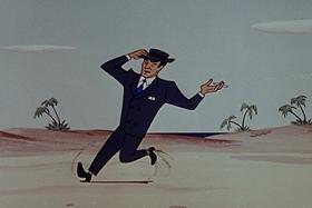 Screenshots from the 1955 Walter Lantz cartoon Bunco Busters