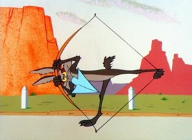 Screenshots from the 1955 Warner Brothers cartoon Guided Muscle