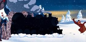 Screenshots from the 1955 Disney cartoon Bearly Asleep