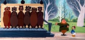 Screenshots from the 1955 Disney cartoon Beezy Bear