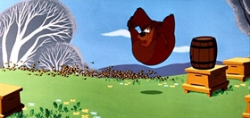 Screenshots from the 1955 Disney cartoon Beezy Bear